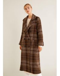 Mango - Checked Recycled Wool Coat - Lyst