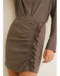Mango - Ruffled Checked Skirt - Lyst