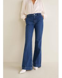 Mango - Decorative Seam Flared Jeans - Lyst