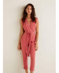 Mango - Lace V-neckline Jumpsuit - Lyst