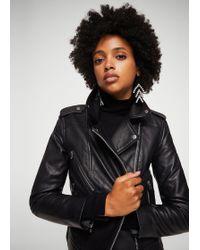 Mango - Leather Biker Jacket - Lyst