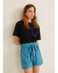 Mango - Lace Cotton Short - Lyst