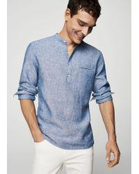 Mango - 100% Linen Mao Collar Shirt - Lyst
