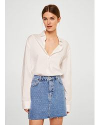 Mango - Crytals Denim Skirt - Lyst