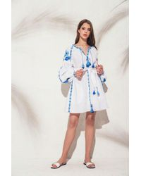 MARCH11 - Flower Pixel Mini Dress In White With Blue - Lyst