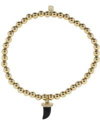 Sydney Evan - Small Pave Onyx Horn Charm Bracelet - Lyst