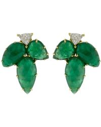 Sylva & Cie - Emerald Leaf Earrings - Lyst
