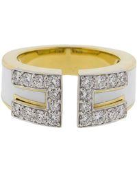 David Webb - White Enamel And Diamond Gap Ring - Lyst