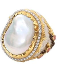 Victor Velyan - Cherry Blossom Oval Pearl Ring - Lyst