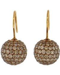 Shamballa Jewels - Cognac Diamond Pave Earrings - Lyst