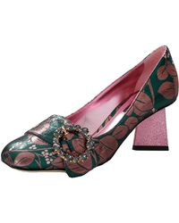 Dolce & Gabbana - Jacquard Pumps With Bejeweled Buckle - Lyst