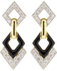 David Webb - Motif Platinum, 18k Yellow Gold & Diamond Double Drop Earrings - Lyst