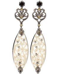 Bochic - Carved Mammoth Drop Earrings With Diamonds - Lyst