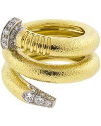 David Webb - Hammered Diamond Nail Ring - Lyst