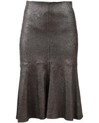 Brunello Cucinelli - Metallic Shimmer Flounce Skirt - Lyst