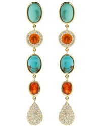 Katherine Jetter - Fire Opal And Turquoise Drop Earrings - Lyst