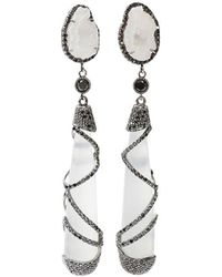 Colette - White Quartz Drop Earrings - Lyst