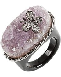 Bochic - Purple Druzy Agate And Diamond Butterfly Ring - Lyst