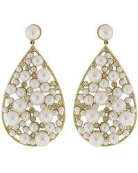 Nancy Newberg - Pearl And Diamond Teardrop Earrings - Lyst