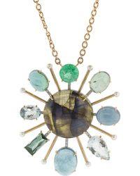 Irene Neuwirth - Tourmaline Labradorite And Emerald Pendant Necklace - Lyst