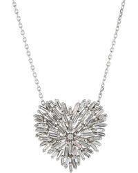 Suzanne Kalan - Medium Diamond Baguette Heart Necklace - Lyst