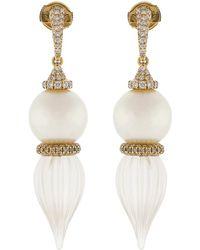 Inbar - Pearl And Carved White Quartz Earrings - Lyst
