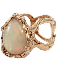 Lucifer Vir Honestus - Opal And Diamond Organic Ring - Lyst