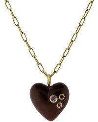 Mark Davis - Burgundy Bakelite Heart Pendant Necklace - Lyst
