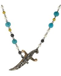 Sevan Biçakci - Turquoise And Pearl Dagger Necklace - Lyst