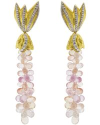 Syna 18kt Peach Moonstone Earrings With Diamonds HQVJS9StO