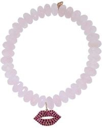 Sydney Evan - Ruby Lips Rose Quartz Rondelle Beaded Bracelet - Lyst