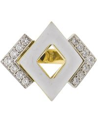 David Webb - Double Diamond And White Enamel Ring - Lyst
