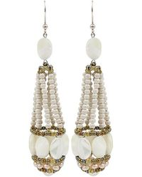 Ziio - Swing White Tassel Earrings - Lyst