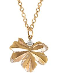Irene Neuwirth - Gold Leaf And Diamond Pendant - Lyst