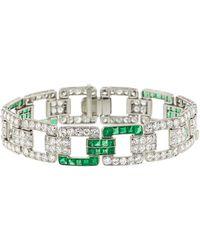 Fred Leighton - Art Deco Diamond And Emerald Heyman Bracelet - Lyst