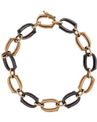 Sylva & Cie - Black Diamond Oval Link Bracelet - Lyst