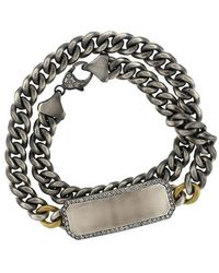 Sylva & Cie - Grey Diamond Id Wrap Bracelet - Lyst