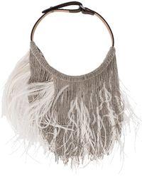 Brunello Cucinelli - Feather And Monili Bib Necklace - Lyst