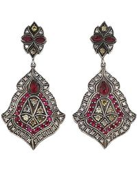 Sevan Biçakci | Scroll Sheild Ruby And Diamond Earrings | Lyst