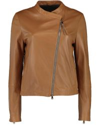 Brunello Cucinelli - Leather Asymmetrical Zip Jacket - Lyst