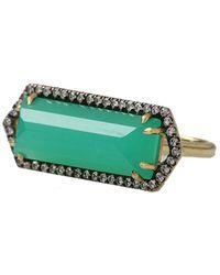 Jemma Wynne - Bar Ring With Emerald Cut Chrysoprase - Lyst