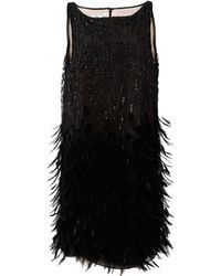 Oscar de la Renta - Embroidered Feather Dress - Lyst