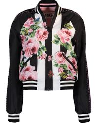 Dolce & Gabbana - Floral And Striped Reversible Bomber Jacket - Lyst