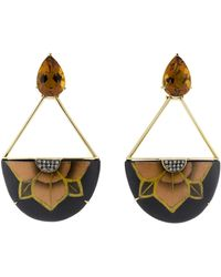Silvia Furmanovich - Marquetry Half Flower Citrine Earrings - Lyst