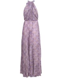 Blumarine - High Neck Pleated Maxi Dress - Lyst