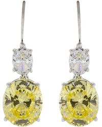Fantasia Jewelry - Canary And Cubic Zirconia Oval Earrings - Lyst