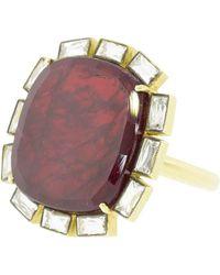 Sylva & Cie - Ruby And Diamond Petal Ring - Lyst