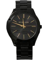 e57836bb95e8 Lyst - Michael Kors Slim Runway Black Stainless Steel   Leather ...