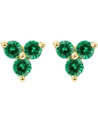 EF Collection - Emerald Trio Stud Earrings - Lyst