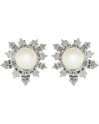 Fantasia Jewelry - Cubic Zirconia And Pearl Burst Earrings - Lyst